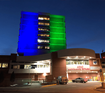 Green and Blue Lights at Denver Health for National Eating Disorder Awareness Week
