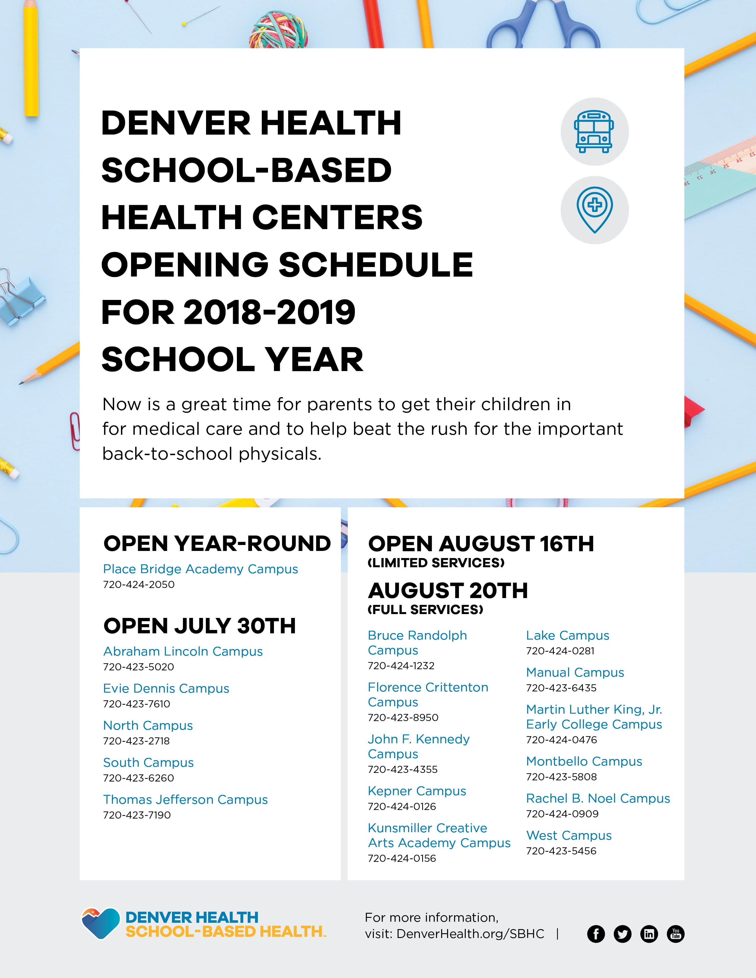 School based Health Centers Open for New School Year