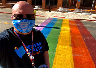 Denver Health rainbow crosswalk Tim Black RN Pride month