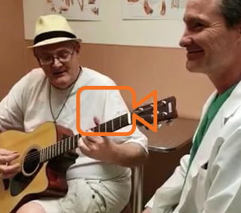 Ray Sheffield Guitarist and Denver Health Arthritis Patient With Rodrigo Banegas